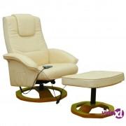 vidaXL Fotelja za masažu krem osloncem za noge