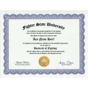 Fighter Fighting Degree: Custom Gag Diploma Fight Doctorate Certificate (Funny Customized Joke Gift Novelty Item)