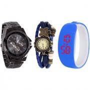 Jack Klein Combo of Round Dial Stylish Elegant Digital And Analog Wrist Watches
