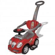 Детска кола за бутане, с дръжка, червена