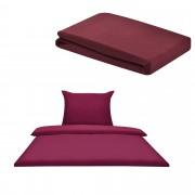 [neu.haus]® Set ropa de cama 135x200cm (Set: 1x funda nórdica, 1x funda almohada) + Sábana bajera ajustable 'Jersey' 180-200x210cm - ROJO