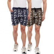 Vimal-Jonney Camouflage Navy Blue And Olive Green Shorts For Men(Pack Of 2)
