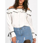 rosegal Hollow Out Ruffles Bowknot Off The Shoulder Blouse