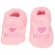 Babyslofjes Kraamcadeau lichtroze babyslofjes/pantoffels love mama