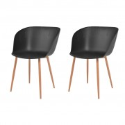 vidaXL Jídelní židle 2 ks černé plastové sedáky, ocelové nohy