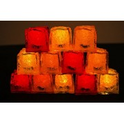 LiteCubes Brand 3 Mode Jewel Color Tinted Fire Pack Theme LED Light Up Ice Cubes- 12 Pack