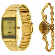 Hwt rectangle mens and bangle womens watches combo pack of 2pcs