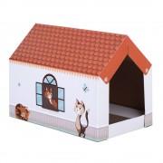 Casita de cartón Home XL con bloque rascador para gatos.- 58 x 36 x 41 cm (L x An x Al)