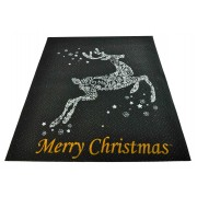 Tappeto nero Merry Christmas passatoia 100x120 cm. N1Bis