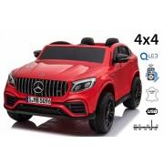 Mașinuță electrică pentru copii Mercedes-AMG GLC, Roșu, Scaun dublu din piele, MP3 player cu port USB și Radio, 4x4, baterii 2x 12V7Ah, roți EVA, suspensii, telecomandă de 2,4 GHz, licențiată