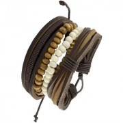 Vintage Biker Multi Strand Brown Bead 100 Genuine Leather Free Size Wrist Band Strap Bracelet Boys Men