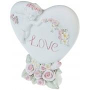 Hjärtformad Söt Figur med Ängel och Love 7,5 cm