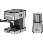 Pachet Espressor cu pompa Studio Casa Espresso Mio SC 2001 850 W 15 bar 1.2 l Inox + Rasnita Del Caffe Grind Master 220W 60g Bonus Cafea boabe Kaidi 500