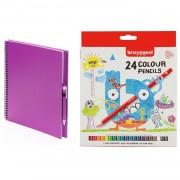 Bellatio Design Schetsboek/tekenboek roze met 24 kleurpotloden