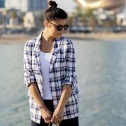 Sötétkék kockás mintás női ing 10889