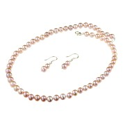 Set clasic din perle naturale lila 7 - 8 mm A
