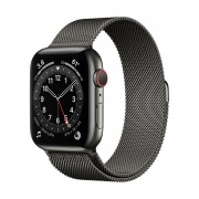 Smartwatch Apple Watch Series 6 GPS + Cellular, 40mm, 4G, Carcasa Graphite Stainless Steel, Bratara Graphite Milanese Loop