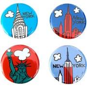 New York Mini Button Set of 4 1.25 inch NY City Souvenir Lapel Pins by Artist Mary Ellis (NY Set 4)