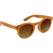TheWhoop Stylish UV Protected Goggles Round Wooden Pattern Sunglasses For Men Women Boys Girls