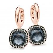 Tirisi Jewelry Milano Due 18 karaats Roségouden Oorsieraden met Hematiet en Diamant