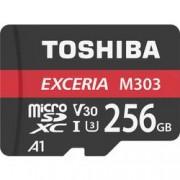 Toshiba Paměťová karta microSDXC, 256 GB, Toshiba M303 Exceria, Class 10, UHS-I, v30 Video Speed Class, UHS-Class 3, vč. SD adaptéru, výkonnostní standard A1