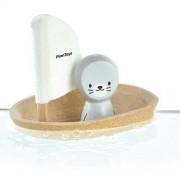 Plan Toys Drewniana żaglówka z foczką do kąpieli - zabawka z drewna żaglówka do wanny,