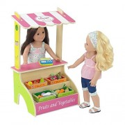 18-inch Doll Furniture | Brightly Colored Farmer's Market Fruit and Vegetable Stand with 16 Colorful Wooden Fruits and Vegetables