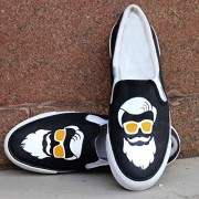 """White Casual Canvas Mens Shoes Hand Painted By Designers + """"FREE Loafer Socks"""". Best for birthday or anniversary unique gift"""