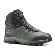 Forclaz Chaussures en cuir larges de trekking - TREK100 CUIR WIDE kaki homme - Forclaz