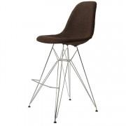 Charles Eames barkruk DD DSR barkruk upholstered donkerbruin