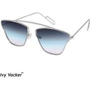 Ivy Vacker Blue Gradient Square Aviator Sunglass