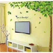 Walltola PVC PVC Green Leaves Tree Floral Wall Sticker (24X35 Inch) (No of Pieces 1)