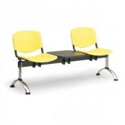Kovo Praktik Plastové lavice ISO II, 2-sedák + stolek, chrom nohy žlutá