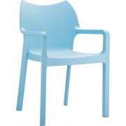 24Designs Set 8 Tuinstoelen Diva Stapelbaar - IJsblauw
