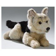 German Shepherd Dog Puppy Lying, 8 inches, 20cm, Plush Toy, Soft Toy, Stuffed Animal