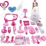 Duiwoim Kids Doctor Toy - Deluxe Medical Kit for Kids/Toddlers Pretend Play Set Girls Boys Role Playing(38 Pieces,Pink)