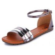 Trase Spade Mettalic Flat Sandals for Women Stylish