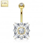 Piercing Street Piercing nombril Or 14 carats marquise