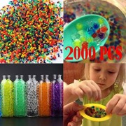 Voberry Water Beads, Beads Water Beads Rainbow Mix, for Orbeez Spa Refill, Sensory Toys and DãCor (Pack of 2000) 9mm-11mm(aftering Soaking in Water) Multicolor