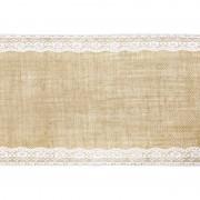 Merkloos Pakket van 4x stuks jute tafellopers 28 x 275 cm met wit kant - Feesttafelkleden