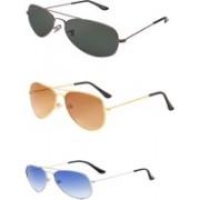 Redex Aviator Sunglasses(Golden, Green, Blue)