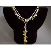 Colier bijuterie argintiu cu cristale verde-fistic