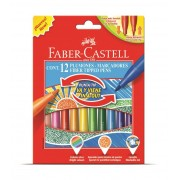 Carioci cu varf retractabil, 12 culori/set, FABER CASTELL