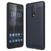 Nokia 8 Brushed TPU Case - Carbon Fiber - Dark Blue
