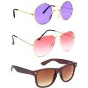 Elgator Aviator, Round, Wayfarer Sunglasses(Violet, Pink, Brown)