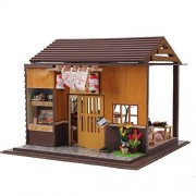 Rylai Wooden Handmade Dollhouse Miniature DIY Kit For Girls - Japanese Sushi Model Series DIY Assembling Model 3d Puzzle Building Toys Gift For Child Wooden Dollhouses & Furniture/Parts