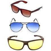 Magjons Brown Wayfarer Blue aviator Sunglasses Combo Yellow Driving Goggale Set of 3 With box MJK06