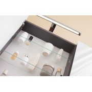 Kolpa san TOI 80 Tükör szekrény üvegpolcokkal, LED világítással - antracit