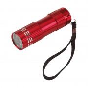 Geen 2x stuks kleine power 9x-LED metalen zaklamp rood