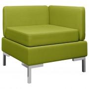 vidaXL Модулен ъглов диван с възглавница, текстил, зелен
